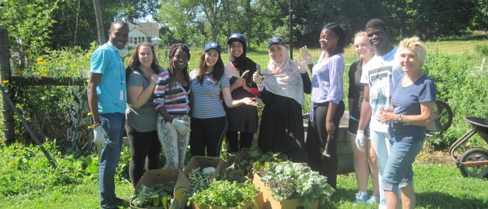 Marlene Mayes (right) with students at Auerfarm. Photo: Sarah Bailey
